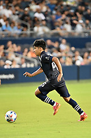 KANSAS CITY, KS - AUGUST 10: Osvaldo Cisneros #25 Sporting KC with the ball during a game between Club Leon and Sporting Kansas City at Children's Mercy Park on August 10, 2021 in Kansas City, Kansas.