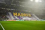 Fans of Real Madrid during UEFA Champions League match between Real Madrid and Paris Saint-Germain FC at Santiago Bernabeu Stadium in Madrid, Spain. November 26, 2019. (ALTERPHOTOS/A. Perez Meca)