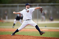 Western Connecticut Colonials relief pitcher Michael Esposito (19) delivers a pitch during the first game of a doubleheader against the Edgewood College Eagles on March 13, 2017 at the Lee County Player Development Complex in Fort Myers, Florida.  Edgewood defeated Western Connecticut 3-0.  (Mike Janes/Four Seam Images)