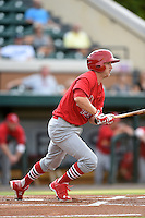 Palm Beach Cardinals third baseman Bruce Caldwell (5) at bat during a game against the Lakeland Flying Tigers on April 13, 2015 at Joker Marchant Stadium in Lakeland, Florida.  Palm Beach defeated Lakeland 4-0.  (Mike Janes/Four Seam Images)
