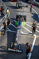 Sep 23, 2016; Madison, IL, USA; Crew members with NHRA top fuel driver Clay Millican during qualifying for the Midwest Nationals at Gateway Motorsports Park. Mandatory Credit: Mark J. Rebilas-USA TODAY Sports