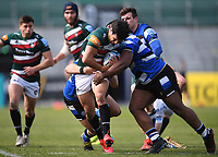 18th April 2021 2021; Recreation Ground, Bath, Somerset, England; English Premiership Rugby, Bath versus Leicester Tigers; Beno Obano of Bath tackles Matías Moroni of Leicester Tigers