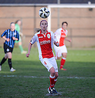 20150428 - VARSENARE , BELGIUM : Standard Julie Biesmans pictured during the soccer match between the women teams of Club Brugge Vrouwen and Standard de Liege Femina , on the 24th matchday of the BeNeleague competition Tuesday 28 th April 2015 in Varsenare . PHOTO DAVID CATRY
