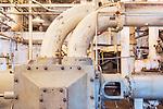 Antique machinery. Seattle, WA, Georgetown Steam Plant, a National Historic Landmark in Seattle, WA USA.  National Historic Site.  Georgetown PowerPlant Museum