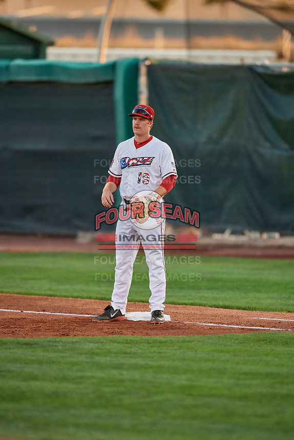 David MacKinnon (19) of the Orem Owlz on defense against the Ogden Raptors at Home of the Owlz on September 11, 2017 in Orem, Utah. Ogden defeated Orem 7-3 to win the South Division Championship. (Stephen Smith/Four Seam Images)