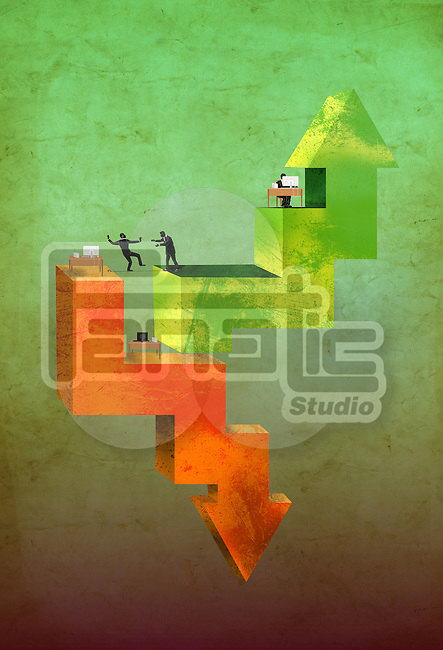 Illustrative image of up and down arrows with business people representing business cycle