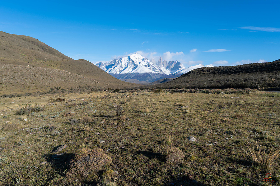 """The Torres del Paine (""""blue towers"""" rise up out of the foothills and valleys, several miles away from us.  We paused from our Puma shoot (the cat was lounging in heavy cover nearby) to appreciate the landscape."""