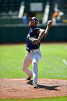 Helena Brewers starting pitcher Michael Petersen (27) warms up in the bullpen before the game against the Ogden Raptors in Pioneer League action at Lindquist Field on July 16, 2016 in Ogden, Utah. Ogden defeated Helena 5-4. (Stephen Smith/Four Seam Images)