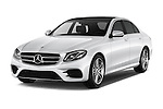 2016 Mercedes Benz E-Klasse Sportline 4 Door Sedan Angular Front stock photos of front three quarter view