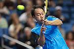 USA's Michael Chang returns the serve at the HSBC Tennis Cup series at First Niagara Center in Buffalo, NY on October 22, 2011