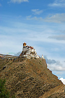 "First and oldest fortress of Tibet, Yumbulagang  above the Yarlung valley, Central Tibet, Tibet, China. The ""Birth Place of Tibet""<br />