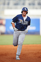 First Baseman Alex Toral (19) of West Orange High School in Davie, Florida runs the bases after hitting a home run while playing for the Tampa Bay Rays scout team during the East Coast Pro Showcase on August 3, 2016 at George M. Steinbrenner Field in Tampa, Florida.  (Mike Janes/Four Seam Images)