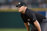First base umpire Tom Honec during the International League game between the Louisville Bats and the Charlotte Knights at BB&T BallPark on May 12, 2015 in Charlotte, North Carolina.  The Knights defeated the Bats 4-0.  (Brian Westerholt/Four Seam Images)