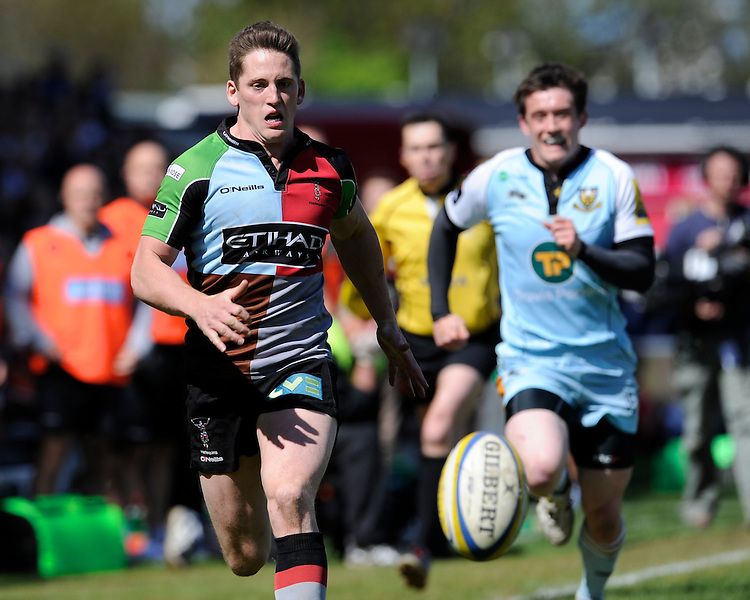 Tom Williams of Harlequins chases down a loose ball during the Aviva Premiership match between Harlequins and Northampton Saints at the Twickenham Stoop on Saturday 4th May 2013 (Photo by Rob Munro)