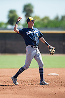 Milwaukee Brewers third baseman Chad McClanahan (72) throws the ball back to the pitcher during an Instructional League game against the San Diego Padres at Peoria Sports Complex on September 21, 2018 in Peoria, Arizona. (Zachary Lucy/Four Seam Images)