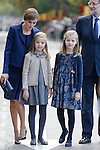 Princess Sofia of Spain, Princess Leonor of Spain, Queen Letizia of Spain and Spain President Mariano Rajoy during Spanish National Day military parade in Madrid, Spain. October 12, 2015. (ALTERPHOTOS/Pool)