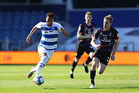24th April 2021; The Kiyan Prince Foundation Stadium, London, England; English Football League Championship Football, Queen Park Rangers versus Norwich; Chris Willock of Queens Park Rangers takes on Oliver Skipp of Norwich City