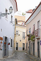 Street view. Alfama district. Lisbon, Portugal