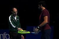 Vincenzo Santopadre coach and Matteo Berettini Matteo Berettini in training today<br /> London 12/11/2019 O2 Arena <br /> Nitto ATP Finals 2019 <br /> Photo Roberto Zanettin / Insidefoto