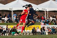 Sky Blue FC forward Danesha Adams (9) and Western New York Flash defender Katherine Reynolds (16). Sky Blue FC defeated the Western New York Flash 1-0 during a National Women's Soccer League (NWSL) match at Yurcak Field in Piscataway, NJ, on April 14, 2013.