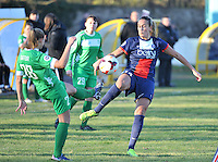 20131211 - HENIN-BEAUMONT , France :  PSG's Kheira Hamraoui (right) pictured in a duel with Henin's Marine Dafeur (left) during the female soccer match between FC Henin Beaumont and Paris Saint-Germain Feminin , of the Ninth matchday in the French First Female Division . Wednesday 11 December 2013. PHOTO DAVID CATRY