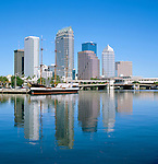 USA, Florida, Tampa: View to Downtown area with Replica Sailing Ship | USA, Florida, Tampa: Downtown mit Segelschiff Nachbau