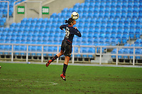 Carli Lloyd heads the ball. The USA captured the 2010 Algarve Cup title by defeating Germany 3-2, at Estadio Algarve on March 3, 2010.