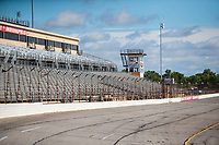 Jul 12, 2020; Clermont, Indiana, USA; Overall view of the main grandstands on the front stretch of Indianapolis Raceway Park circle track. Mandatory Credit: Mark J. Rebilas-USA TODAY Sports