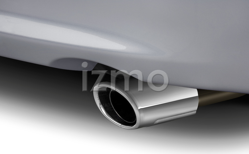 Close up of Mitsubishi Lancer muffler tailpipe.