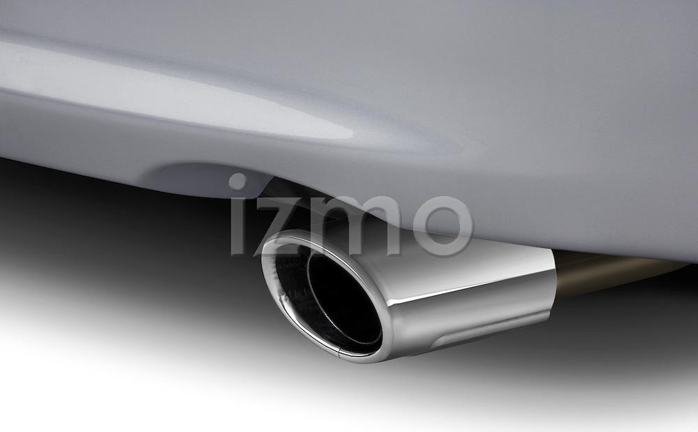 Close up of Mitsubishi Lancer muffler tailpipe.