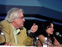Montreal, 1999-08-30. French movie director Bertrand Tavernier and actress Maria Pitarrresi were giving a news conference about the movie `` Ca commence aujoud'hui `` that is shown at the World Film Festival in Montreal (Quebec, Canada)<br /> Photo : (c) Pierre Roussel, 1999<br /> KEYWORDS : Bertrand Tavernier, cinema,celebrities, World Film Festival, Montreal, Canada