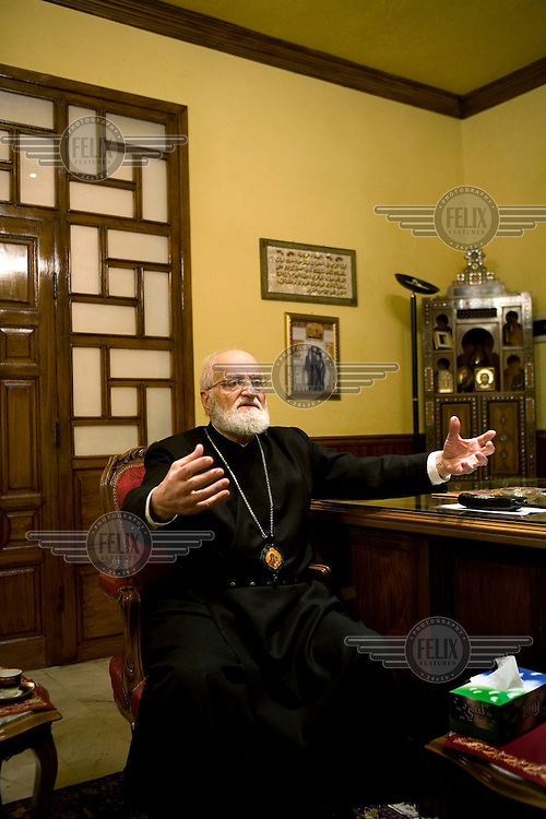 Patriarch Gregory (Gregorios) III, patriarch of the church of Antioch and leader of the Melkite Greek Catholic Church in his office in Damascus. .