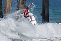 Huntington Beach, CA - Tuesday July 31, 2018: Joan Duru in action during a World Surf League (WSL) Qualifying Series (QS) Men's round of 96 heat at the 2018 Vans U.S. Open of Surfing on South side of the Huntington Beach pier.