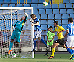 Alashkert FC v St Johnstone...02.07.15   Republican Stadium, Yerevan, Armenia....UEFA Europa League Qualifier.<br /> Alan Mannus punches the ball clear<br /> Picture by Graeme Hart.<br /> Copyright Perthshire Picture Agency<br /> Tel: 01738 623350  Mobile: 07990 594431