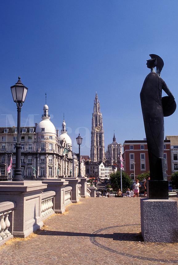 Belgium, Antwerp, Antwerpen, Europe, Sculpture on the riverfront along the Scheldt River in Antwerpen.