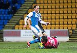 St Johnstone v Hibs…16.03.18…  McDiarmid Park    SPFL<br />Chris Kane misses a first half chance to score<br />Picture by Graeme Hart. <br />Copyright Perthshire Picture Agency<br />Tel: 01738 623350  Mobile: 07990 594431