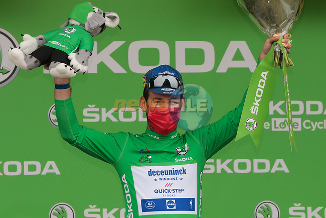 Mark Cavendish (GBR) Deceuninck-Quick Step retains the points Green Jersey at the end of Stage 17 of the 2021 Tour de France, running 178.4km from Muret to Saint-Lary-Soulan Col du Portet, France. 14th July 2021.  <br /> Picture: Colin Flockton | Cyclefile<br /> <br /> All photos usage must carry mandatory copyright credit (© Cyclefile | Colin Flockton)