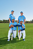 Tampa Bay Rays (Standing L-R) Matthew Liberatore, Brendan McKay, (Kneeling L-R) Ronaldo Hernandez, Wander Franco during a Baseball America Photo Shoot on March 9, 2019 at Charlotte Sports Park in Port Charlotte, Florida.  (Mike Janes/Four Seam Images)