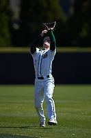 Charlotte 49ers second baseman Carson Johnson (2) settles under a pop fly during the game against the East Carolina Pirates at Hayes Stadium on March 8, 2020 in Charlotte, North Carolina. The Pirates defeated the 49ers 4-1. (Brian Westerholt/Four Seam Images)
