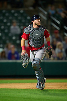 Worcester Red Sox catcher Chris Herrmann (18) during a game against the Rochester Red Wings on September 3, 2021 at Frontier Field in Rochester, New York.  (Mike Janes/Four Seam Images)