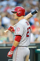 Mike Trout (27) of the Los Angeles Angels waits for his turn to hit against the Detroit Tigers at Comerica Park on June 25, 2013 in Detroit, Michigan.  The Angels defeated the Tigers 14-8.  (Brian Westerholt/Four Seam Images)
