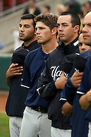 June 28th 2008:  Jeff Marquez, Eric Duncan, and Jeff Karstens of the Scranton Wilkes-Barre Yankees, Class-AAA affiliate of the New York Yankees, during a game at Dunn Tire Park in Buffalo, NY.  Photo by:  Mike Janes/Four Seam Images