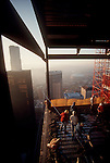 Seattle, Highrise construction, 1201 Third Avenue Tower, (Washington Mutual Tower prior to 2008), Wright Runstad, Howard S. Wright construction, architecture, veiw from top, cement pour, 1987, Pacific Northwest, Washington State, USA,