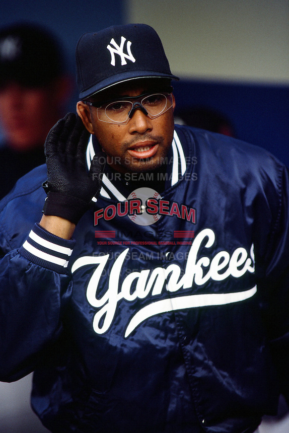 Bernie Williams of the New York Yankees during a game against the Los Angeles Dodgers circa 1999 at Dodger Stadium in Los Angeles, California. (Larry Goren/Four Seam Images)