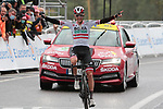 Austrian Champion Patrick Konrad (AUT) Bora-Hansgrohe from the breakaway wins Stage 16 of the 2021 Tour de France, running 169km from Pas de la Case to Saint-Gaudens, Andorra. 13th July 2021.  <br /> Picture: Colin Flockton   Cyclefile<br /> <br /> All photos usage must carry mandatory copyright credit (© Cyclefile   Colin Flockton)