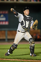 Bowie Baysox catcher Austin Wynns (19) throws to first base during a game against the Harrisburg Senators on May 16, 2017 at FNB Field in Harrisburg, Pennsylvania.  Bowie defeated Harrisburg 6-4.  (Mike Janes/Four Seam Images)