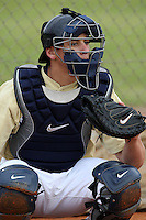 February 27, 2010:  Catcher Humberto Melendez of West Virginia Mountaineers during the Big East/Big 10 Challenge at Raymond Naimoli Complex in St. Petersburg, FL.  Photo By Mike Janes/Four Seam Images