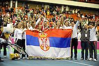 Serbian team celebrate Fed Cup Serbia vs Canada, World group II, first round, Novi Sad, Serbia, SPENS Sports Center, Sunday, February 06, 2011. (photo: Srdjan Stevanovic)(credit image & photo: Pedja Milosavljevic / +381 64 1260 959 / thepedja@gmail.com )
