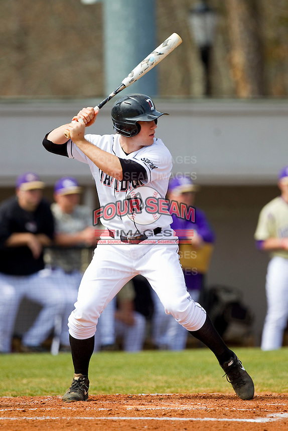 Forrest Brandt (10) of the Davidson Wildcats at bat against the Western Carolina Catamounts at Wilson Field on March 10, 2013 in Davidson, North Carolina.  The Catamounts defeated the Wildcats 5-2.  (Brian Westerholt/Four Seam Images)