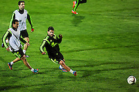 Spanish National Team's  training at Ciudad del Futbol stadium in Las Rozas, Madrid, Spain. In the pic: Cesc Fabregas, Pedro and Isco. March 25, 2015. (ALTERPHOTOS/Luis Fernandez) /NORTEphoto.com